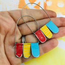 Load image into Gallery viewer, Scarlet, Butter & Aqua Arched Upcycled Tin Dangle Earrings