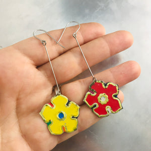 Red & Yellow Vintage Stylized Flowers Recycled Tin Earrings