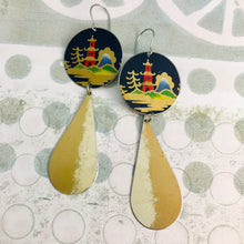 Load image into Gallery viewer, Japanese Pagoda on Midnight Blue Long Teardrops Tin Earrings