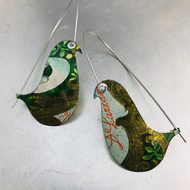 Antiqued Gold & Green Birds on a Wire Upcycled Tin Earrings