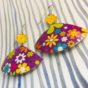 Bright Flowers on Purple Fans Upcycled Tin Earrings