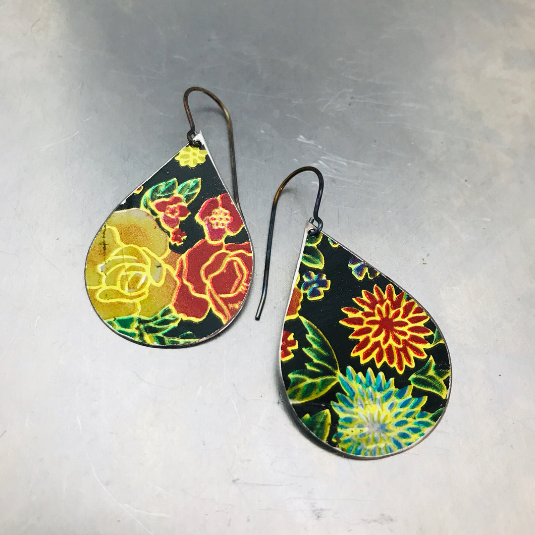 Bright Flowers on Midnight Upcycled Teardrop Tin Earrings