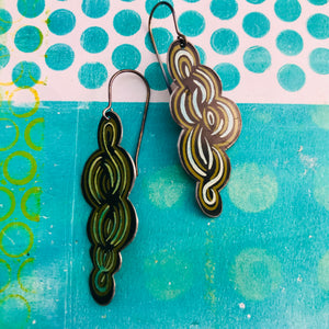 Cool Swirls Small Recycled Tin Earrings