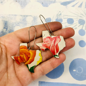 Pink and Orange Texas Roses Upcycled Tin Earrings