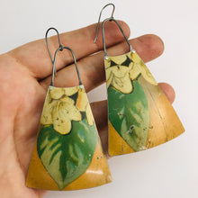 Load image into Gallery viewer, Vintage Dogwood Upcycled Vintage Tin Long Fans Earrings