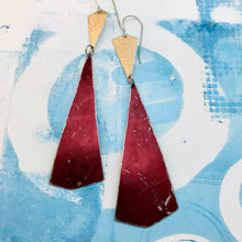 Load image into Gallery viewer, Gold & Long Raspberry Kites Recycled Tin Earrings