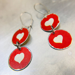 White Hearts on Red Tiny Tin Earrings