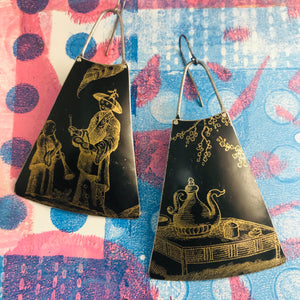 Tea & Music Zero Waste Tin Long Fans Earrings