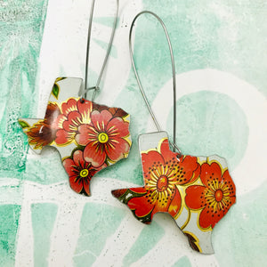 Texas Vintage Wildflowers Upcycled Tin Earrings