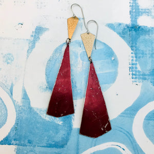 Gold & Long Raspberry Kites Recycled Tin Earrings