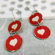 Load image into Gallery viewer, White Hearts on Red Tiny Tin Earrings