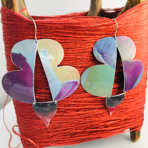Purple Watercolor Abstract Butterflies Upcycled Tin Earrings