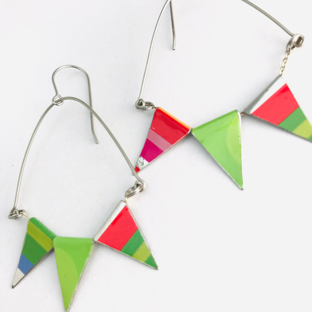 Tiny Pennant Swag Upcycled Tin Earrings