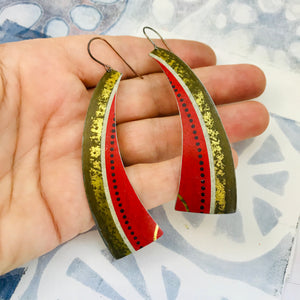 Vintage Scarlet Rounded Edge Recycled Tin Earrings