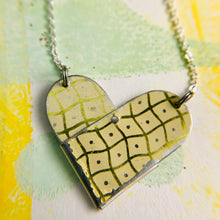Load image into Gallery viewer, Wavy Golden Checkerboard Tin Heart Recycled Necklace