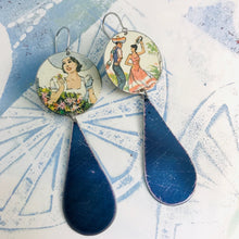 Load image into Gallery viewer, Fiesta Upcycled Tin Long Teardrop Earrings