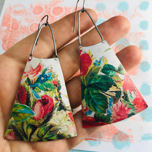 Vintage Flowers on White Zero Waste Tin Long Fans Earrings