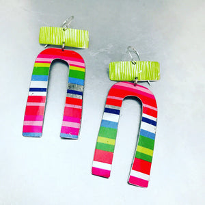 Bright Striped Horseshoe & Etched Celery Green Zero Waste Tin Earrings