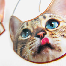 Load image into Gallery viewer, Happy Tabby Cats Upcycled Tin Earrings