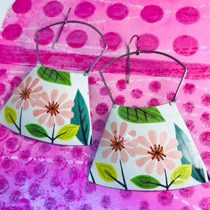 Mod Pink Flowers Large Zero Waste Tin Earrings