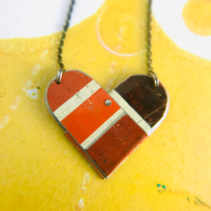Colorblock Reds Tin Heart Recycled Necklace