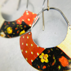Orange Patchwork Half Moon Recycled Tin Earrings