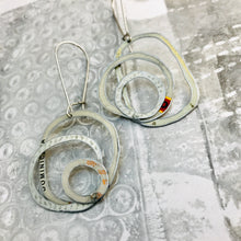 Load image into Gallery viewer, More Mixed Whites Smaller Scribbles Upcycled Tin Earrings