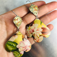 Load image into Gallery viewer, Pink Peonies on Gold Trefoil Upcyled Tin Earrings