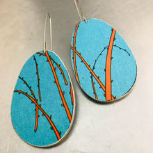 Load image into Gallery viewer, Bright Blue & Orange Ovals Recycled Book Cover Earrings