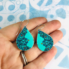 Load image into Gallery viewer, Bright Turquoise Upcycled Teardrop Tin Earrings