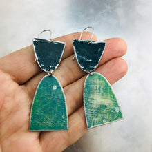 Load image into Gallery viewer, Mod Matte Mixed Teals Arches Zero Waste Tin Earrings