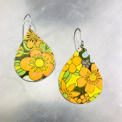 Orange Allover Flowers Upcycled Teardrop Tin Earrings