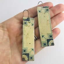 Load image into Gallery viewer, Delft on Cream Vintage Rectangle Tin Earrings