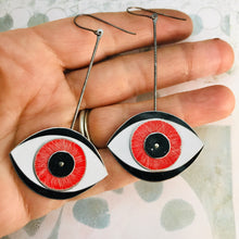 Load image into Gallery viewer, Red Eye Upcycled Tin Earrings