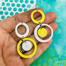 Load image into Gallery viewer, White & Yellow Starburst Multi Circles Upcycled Tin Earrings