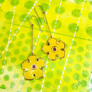 Yellow Vintage Stylized Flowers Recycled Tin Earrings