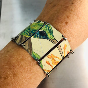 Bright Green Hummingbird Upcycled Tin Bracelet