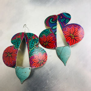 Poinsettia & Holly Abstract Butterflies Zero Waste Tin Earrings