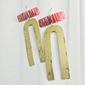 Antique Gold Horseshoe & Red Rectangles Zero Waste Tin Earrings