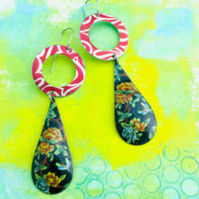 Load image into Gallery viewer, Flowered Long Teardrop Red Ring Tin Earrings