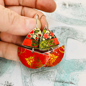 Scarlet and Golds Little Sailboats Tin Earrings