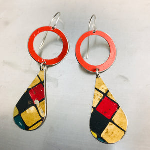 Bright Red Ring & Vintage Tiles Tin Long Teardrops Earrings
