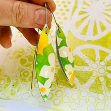 Load image into Gallery viewer, Spring Green White Flowers Long Pods Upcycled Tin Leaf Earrings