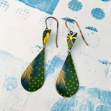 Load image into Gallery viewer, Green Polka Dot Teardrops Tin Earrings