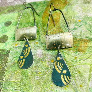 Vintage Gold & Slate Teardrops Aqua Rings Upcycled Teardrop Tin Earrings