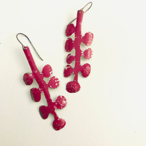 Deep Purple-y Pink Matisse Leaves Upcyled Tin Earrings