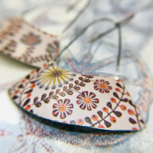 Stylized Leaves & Flowers on Palest Lavender Wide Arc Zero Waste Earrings