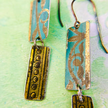 Load image into Gallery viewer, Mixed Vintage Edge Pattern Turquoise & Gold Recycled Tin Earrings