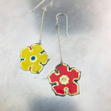 Load image into Gallery viewer, Red & Yellow Vintage Stylized Flowers Recycled Tin Earrings