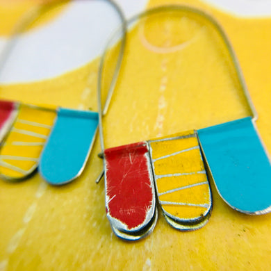 Scarlet, Butter & Aqua Arched Upcycled Tin Dangle Earrings